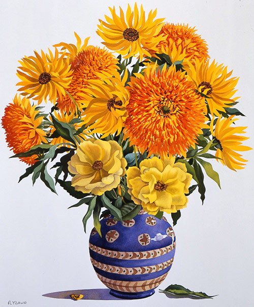 98-Yellow-flowers-in-a-blue-vase